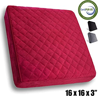 Comfortanza Foam Chair Seat Cushion for Wooden, Kitchen, Dining, Office Chairs, Car Seats -  Booster Cushion for Adults and Kids - 16x16x3 inches, Burgundy Red