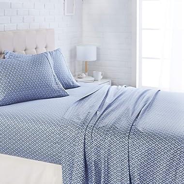 AmazonBasics Lightweight Super Soft Easy Care Microfiber Bed Sheet Set with 16  Deep Pockets - Queen, Blue Damask