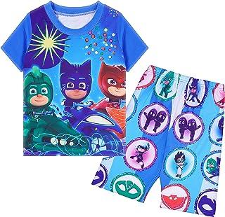 مجموعة ملابس أطفال للجنسين للبنات والأولاد أزياء عادية تي شيرت مجموعة شورت للصيف الأزرق