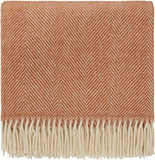 URBANARA 100% Pure Scandinavian Wool Throw Salantai 55x87 Terracotta/Cream with Fringe — Virgin Wool Blanket with Decorative Herringbone Design — Perfect for Your Couch, Sofa, Bedroom, Twin Size Bed