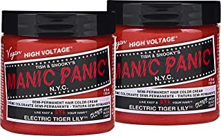 Manic Panic Electric Tiger Lily Orange Hair Color Cream (2-Pack) Classic High Voltage Semi-Permanent Hair Dye. Vivid Shade, Dark or Light Hair – Vegan, PPD, Ammonia-Free - Ready-to-Use No-Mix Coloring