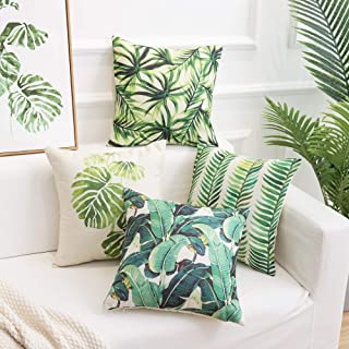 famibay Pack of 4 Tropical Rainforest Pillow Covers Cotton Linen Tropical Palm Leaves Cushion Covers Square Decorative Pillowcases for Sofa Couch Bed Patio 18×18 Inch