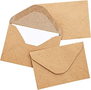 Juvale 100-Count Bulk Mini Kraft Envelopes for Small Note Cards, Business and Gift Cards, 4.1 x 2.75 Inches