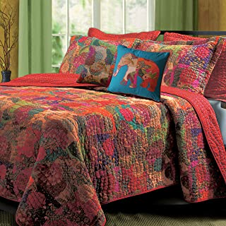 Greenland Home Jewel Quilt Set, 5-Piece King/Cal King, Red
