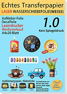 TransOurDream Laser Wasserschiebefolie(Weiss) A4X20 Blatt,SUPER DÜNN,Wasserschiebefolie Laserdrucker,Decal Abziehbild,Deac...