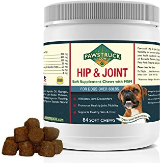 Pawstruck Natural Hip and Joint Supplement for Dogs in Bulk - Soft Chew Supports Overall Joint Health, Glucosamine for Dogs w/Chondroitin & MSM for Healthy Canines, Made in USA
