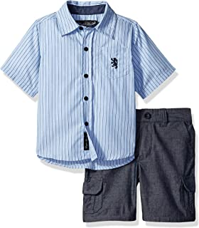 ENGLISH LAUNDRY 婴儿男孩袖子条纹梭织衬衫和条纹短裤