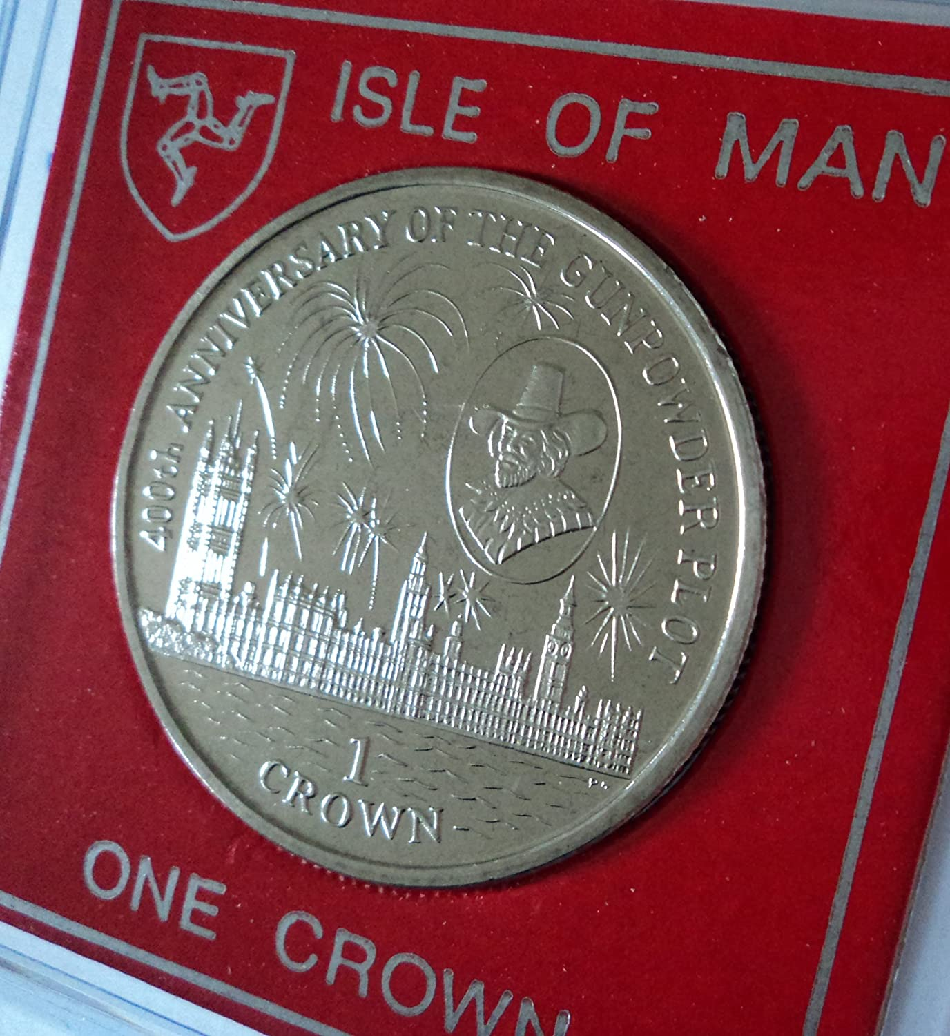 Gunpowder Plot Guy Fawkes 400th Anniversary 1605 to 2005 Isle of Man Commemorative Crown Coin (BU) Collector Gift Set in Display Case