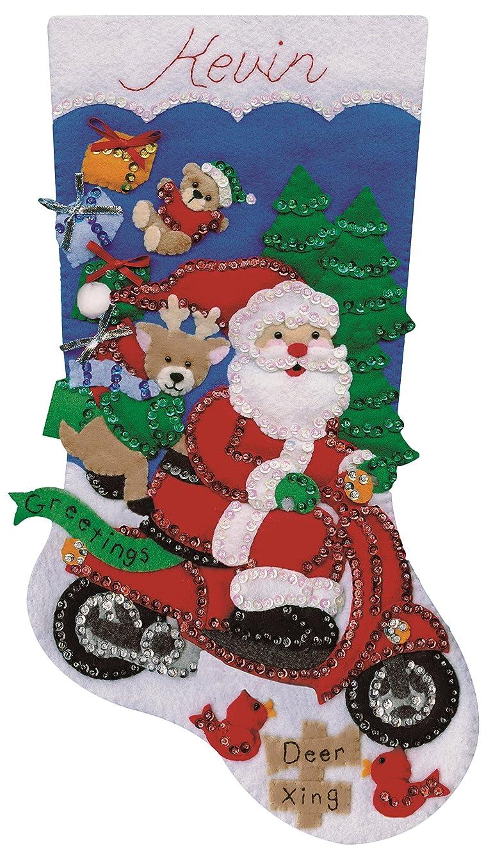 Tobin Scooter Santa Stocking Felt Applique Kit-18 Long, 18