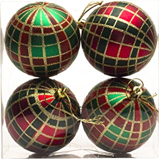 Queens of Christmas WL-ORN-4PK-PLD-GRG-4PK Green Red and Gold 4 Pack Plaid Ornament Set, 3
