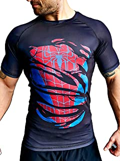 Khroom Superhero Short Sleeve Compression Shirt for Men | Rash Guard with Quick-Drying for Fitness | Breathable 4-Way Stre...