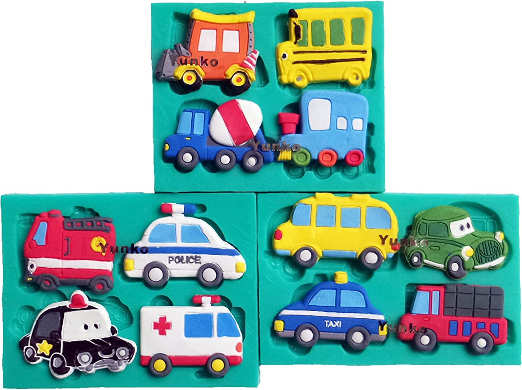 Yunko Cars 12 Hole Cake Decorating Fondant Silicone Mold Chocolate Candy Cupcake Mold Police Car Truck Taxi Driver Ambulance