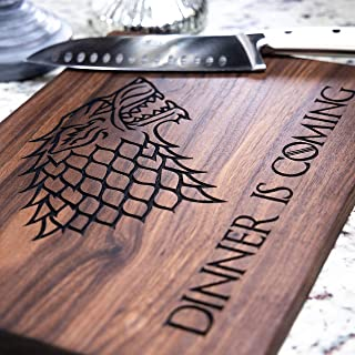 Game of Thrones Cutting Board - Game of Thrones Gift, Game of Thrones Merchandise, Walnut Wood Cutting Board Handmade in the USA - Dinner is Coming