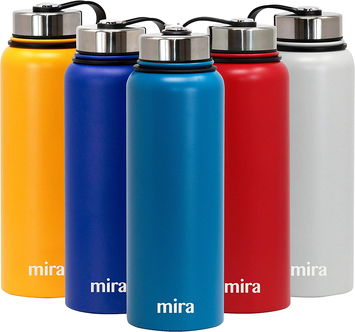 MIRA 40 oz Stainless Steel Vacuum Insulated Wide Mouth Water Bottle   Thermos Keeps Cold for 24 Hours, Hot for 12 Hours   Double Walled Powder Coated Travel Flask   Hawaiian blueee