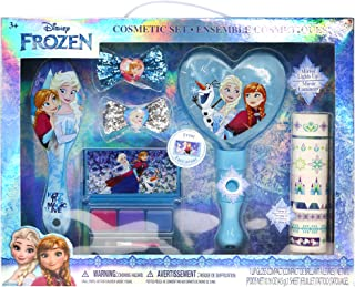 Disney Frozen Anna, Elsa and Olaf Hair and Beauty Kit, Includes: Lip Gloss Palette, Light Up Mirror, Hair Comb, Hair Bows and Nail Stickers.