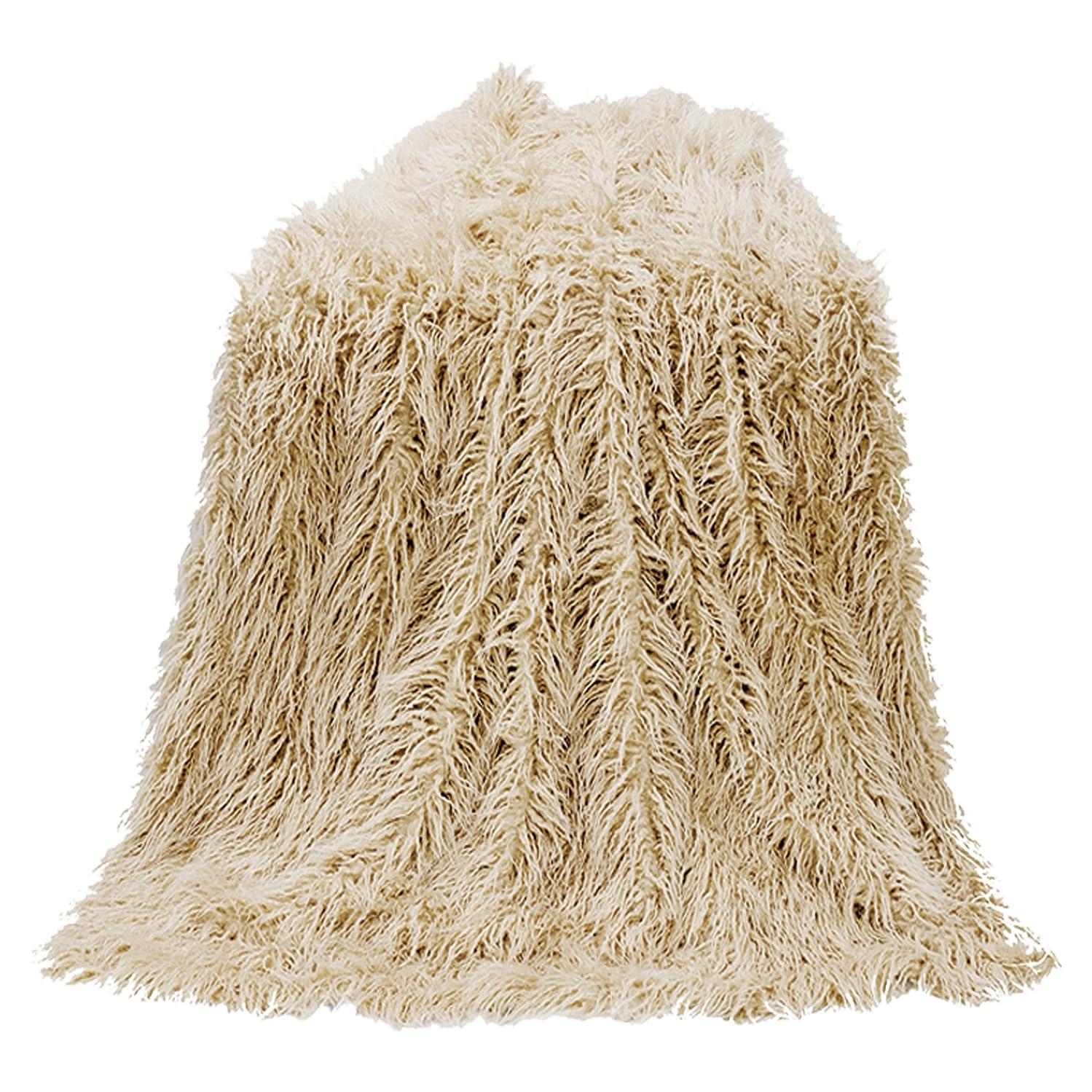 店員驚いた売り手HiEndアクセントMongolian Faux Fur Throw One Size ベージュ TR5003-OS-CR