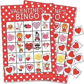 DISTINCTIVS Valentine's Day Bingo Game for Kids - 24 Players