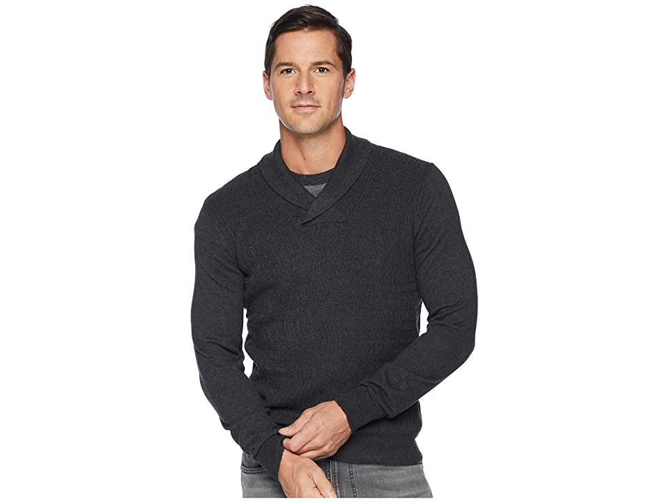Perry Ellis Texture Pattern Shawl Pullover Sweater (Charcoal Heather) Men