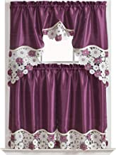 GOHD Golden Ocean Home Decor Spring Vigor Kitchen Cafe Curtain Set Swag Valance and Tier Set. Nice Matching Color Daisy Embroidery on Border with cutworks (Purple)
