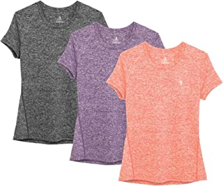 icyzone Workout Running Tshirts for Women - Fitness Athletic Yoga Tops Exercise Gym Shirts (Pack of 3)