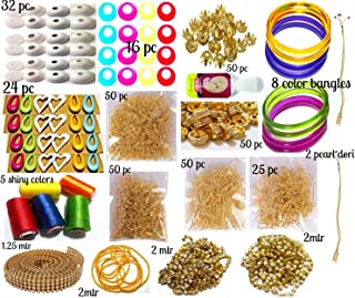GOELX Silk Thread Jewellery Making Kit, 50 Pair Jhumka Earring Base, Materials, All Items Set with Silk Thread (17 Items)
