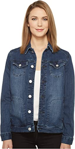 Lowen Stretch Jacket in Crosshatch Denim in Thorne Blue