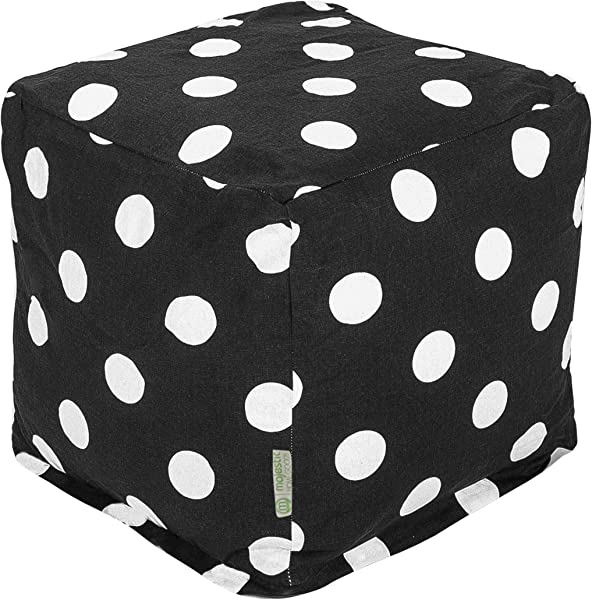 Majestic Home Goods 85907210134 Black Large Polka Dot Indoor Bean Bag Ottoman Pouf Cube L W X 17 H 17 X 16 X 16