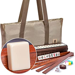 Yellow Mountain Imports American Mahjong Set, Mojave (Ivory) with Brown Nylon Case - Four All-in-One Racks with Pushers, W...