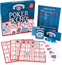 Poker Keno Game Set with Cards and Chips - Adult Family Casino Board Game Night Gift Includes Deck of Playing Cards, 12 Bo...