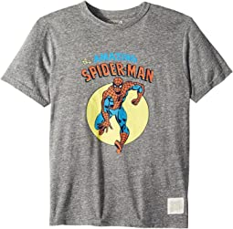 The Original Retro Brand Kids - Spiderman Short Sleeve Tri-Blend Tee (Big Kids)