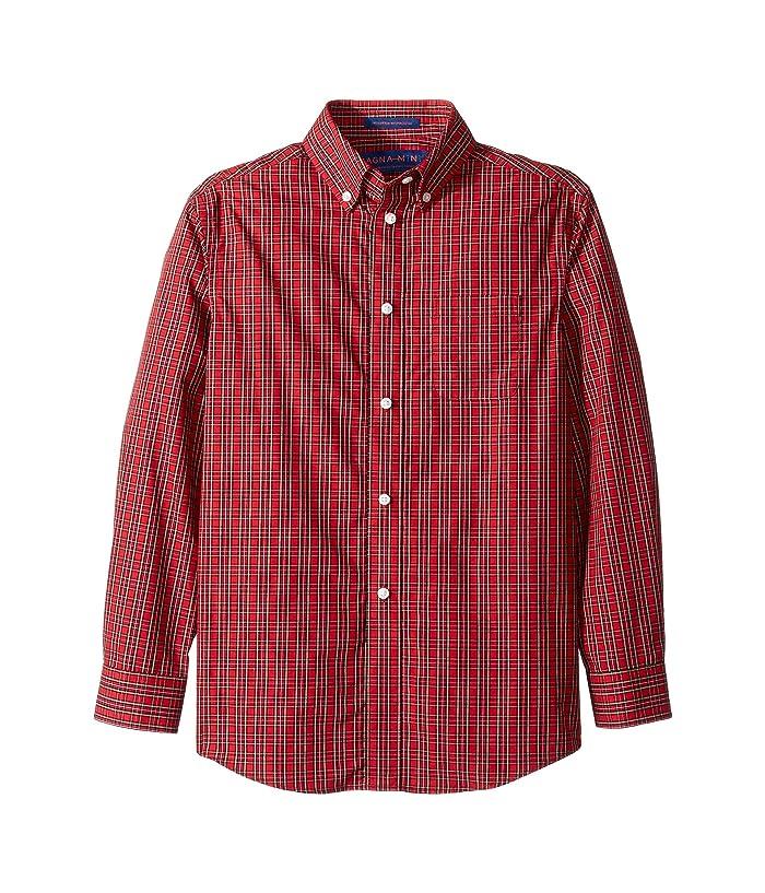Magna Ready  Long Sleeve Button Down Tartan Shirt (Red) Mens Clothing