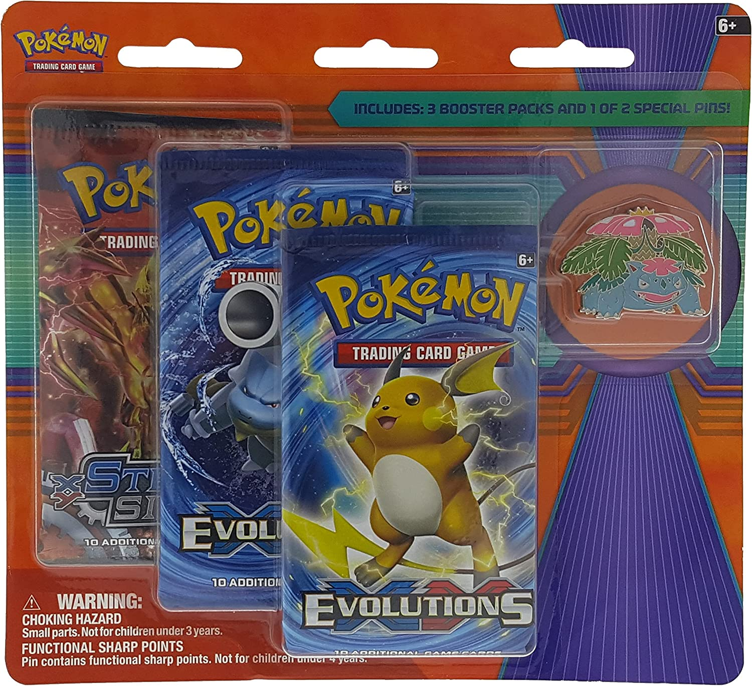 Pokemon TCG, Blister Pack Containing 3 Booster Packs and Featuring Mega Venusaur Collector's Pin