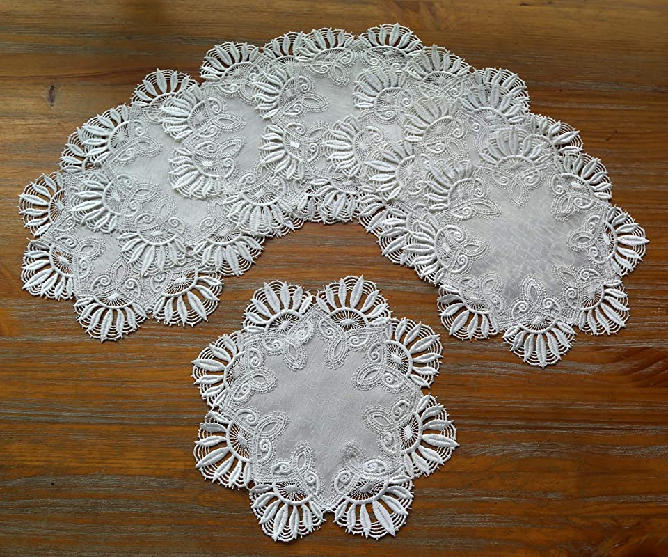 DOUKING Vintage Lace Doilies European Round Lace Placemat Victorian Style Lace Table Decoration Small Embroidered Tablecloths Cloth Ornament White Flower 11 Inch Set Of 8 White