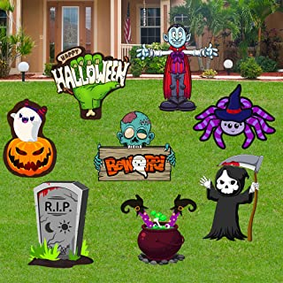 SEASONBLOW 8Pcs Halloween Yard Signs Outdoor Lawn Decorations- Halloween Outdoor Decorations- Halloween Pumpkin Ghost Mons...