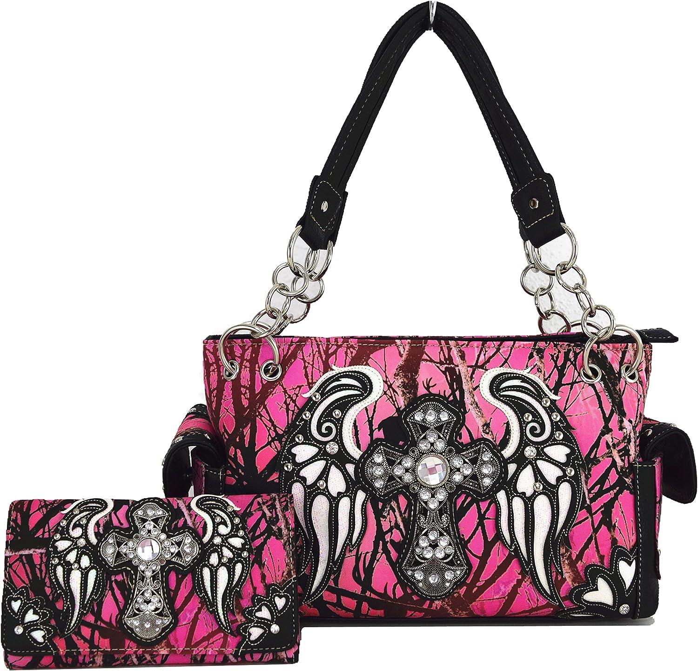 whiteho Bedding Womens [Celtic Cross And Wings] PU Leather Bag Set Elegant Wallet Hanbag Comobo Fashion Bag Purse WHITE