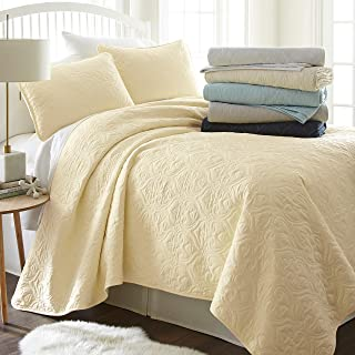 Simply Soft Quilted Coverlet Set Damask Patterned, Queen/Full, Yellow