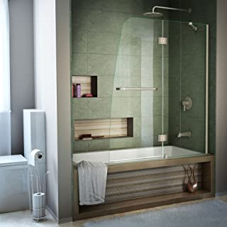 DreamLine Aqua 48 in. W x 58 in. H Frameless Hinged Tub Door in Brushed Nickel, SHDR-3148586-04