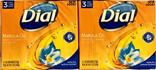 Dial Skin Care Bar - Marula Oil - Gentle Cleansing - 4 OZ (113 g) Per Bar - 3 Count Bars Per Package - Pack of 2 Packages