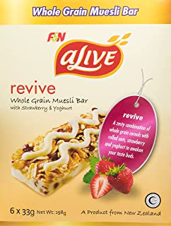 Alive Wholegrain Muesli Bar with Strawberry and Yoghurt, Revive, 33g (Pack of 6)