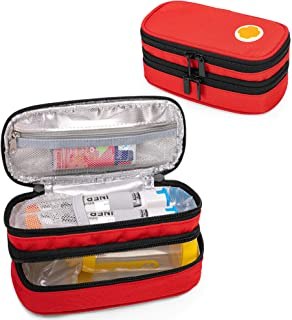 Sponsored Ad - CURMIO Double Layer EpiPen Carrying Case for Kid, Portable Medicine Supplies Bag for 2 EpiPens, Auvi-Q, Syr...