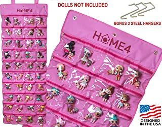 HOME4 LOL Toys Hanging Storage Organizer Carrying Travel, 40 Clear View Pockets, Roll Up, for Small Dolls, Cars, Jewelry, Hair Accessories, Arts & Crafts, Bead, Sewing and More