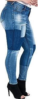 Standards & Practices Plus Size Women's Patchwork Stretch Denim Premium Jeans