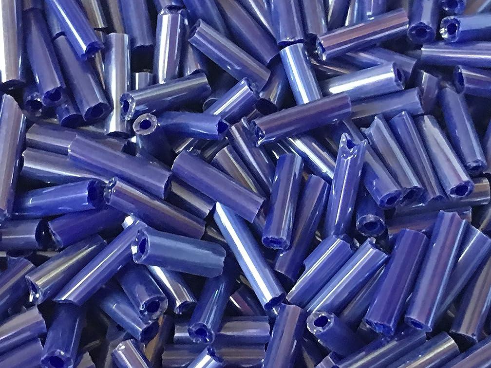 Czech Bugle Beads 40 gr / 1.4 oz Cobalt Blue Opaque Satin Glass Tube Size #3 7mm