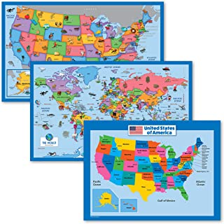 """3 Pack - Illustrated World Map & USA Map for Kids + USA Map Poster for Kids [18x24] (Laminated, 18"""" x 29"""")"""