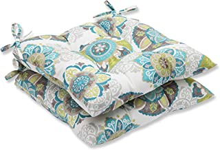 """Pillow Perfect Outdoor/Indoor Allodala Oasis Tufted Seat Cushions (Square Back), 19"""" x 18.5"""", Blue, 2 Pack"""