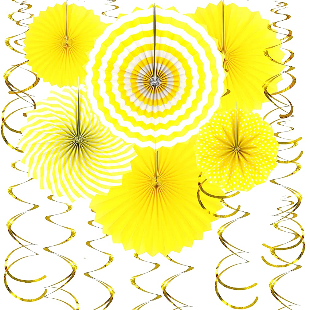 JUICY MOOM Yellow Hanging Paper Fans Decorations Gold Swirls Ceiling Hangings Decorations Baby Shower Birthday Wedding Engagement Party New Years Decorations, 20pc