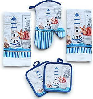 Kitchen Decor Linen Set Includes 2 Dish Towels, 2 Square Pot Holders, 1 Oven Mitt | Tall..