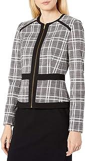 Calvin Klein Women's Piped Zip Front Plaid Jacket