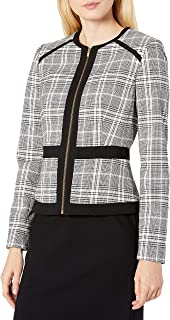 Women's Piped Zip Front Plaid Jacket
