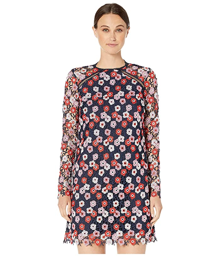 ML Monique Lhuillier Long Sleeved Lace Cocktail Dress with High Neck (Navy Multi) Women